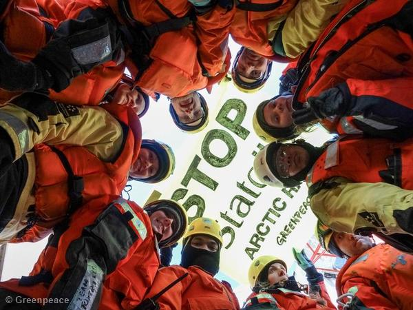 Another mobile shot of Greenpeace activists aboard the Statoil rig in the Barents Sea.