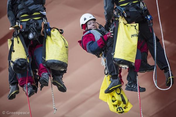 After 48 hours of occupying the Statoil commissioned rig, activists Sini Saarela and Rosa Gierens are removed by police climbers.