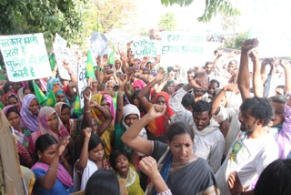 Priya and villagers Mahan rally against Essar and coal extraction.