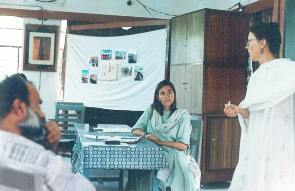Annie working on her passion as a toxics campaigner for Greenpeace International back in the day.