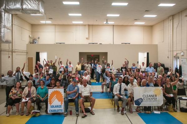 A huge turnout at a Solarize Charlotte meeting in June 2014.