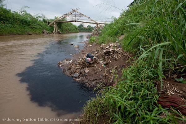 The residents of  Desa Padamulya village have little access to clean water, as the water supplies of their village are contaminated by chemicals released by nearby textile factories.