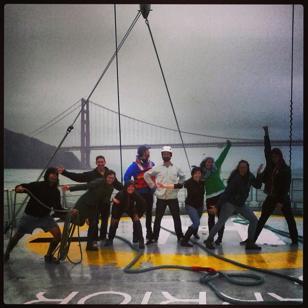 Myriam and a bunch of other Greenpeace USA people on the Rainbow Warrior.