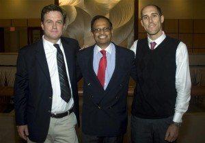 Scott Paul (Greenpeace), Suhas Apte (Kimberly-Clark) and Richard Brooks (Greenpeace) mark an end to the Kleercut campaign