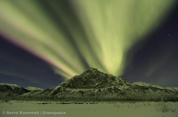 Northern Lights over Brooks Range, Northern Alaska.