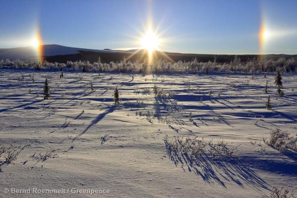 Sundog / parhelion in the sky in Alaska.
