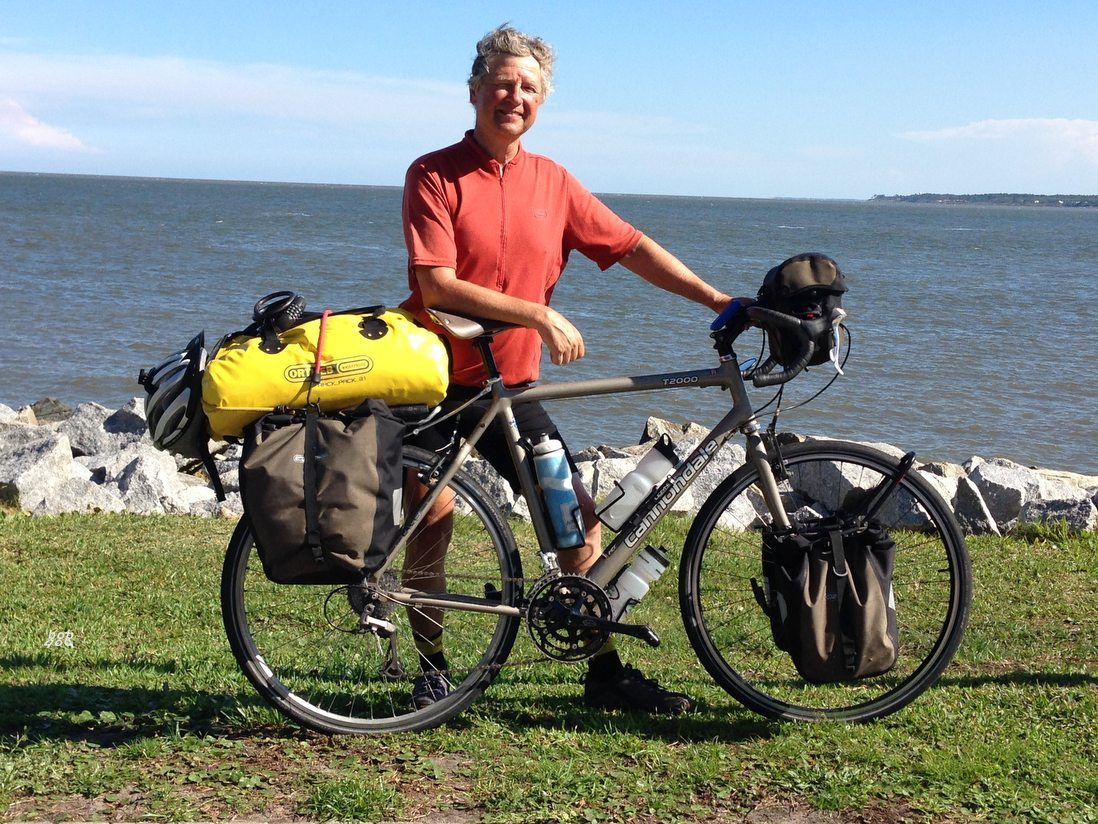 Bob Meyers at St. Simons Island, Georgia, after riding a bicycle across the United States