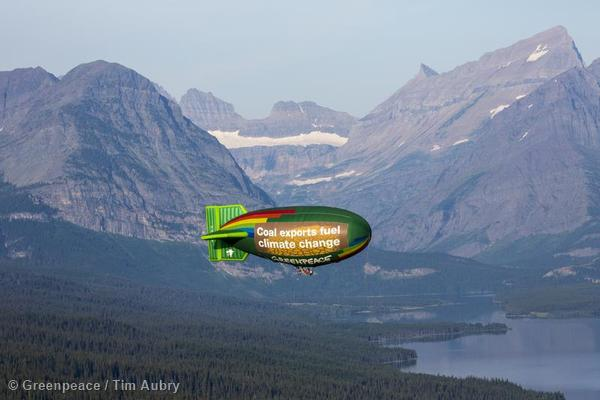 Click the image to see more photos of the Greenpeace airship near Glacier National Park