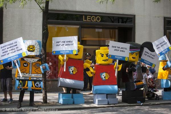 Block Shell Protest at LEGO Store in New York