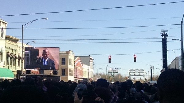 Rep. John Lewis speaks at the foot of the Edmund Pettus Bridge on the anniversary of Bloody Sunday