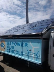 The Rolling Sunlight truck features a 2.4 kW solar array that could power one typical US household or three energy efficient homes when fully deployed