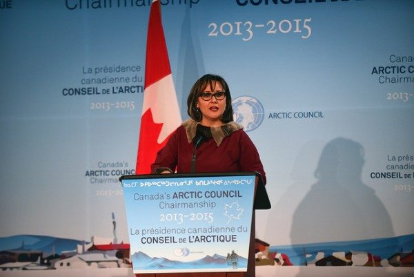 Canada's Minister of the Environment and Arctic Council Minister Leona Aglukkaq speaks at a circumpolar symposium in March 2015