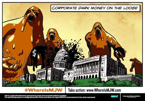With anonymous  corporate cash flooding elections, where is our superhero Mary Jo White? #whereisMJW