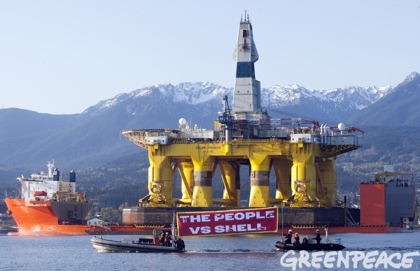 The Polar Pioneer arrives in Port Angeles, Washington, two hours from Seattle.