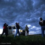 Storm chasers and Doppler on Wheels truck near Fort Dodge, Iowa, USA.