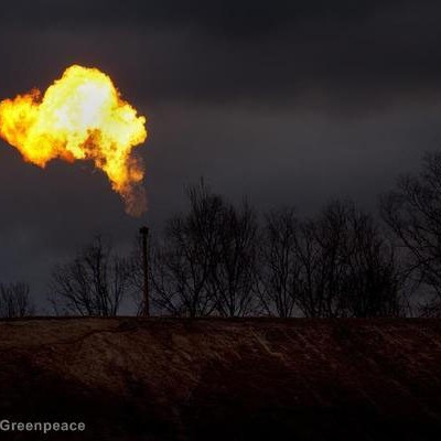Gas flares from a well in the Bradford County countryside.