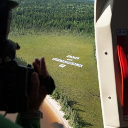 'Save the Broadback' Banner Action by Cree First Nation of Waswanipi