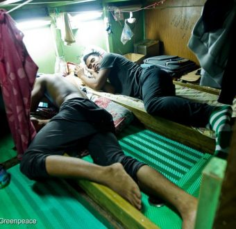 Fishermen Sleep Onboard a Taiwanese Longliner in Samoa