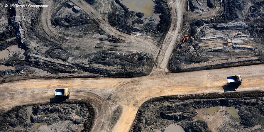 Trucks operating at tar sands mine