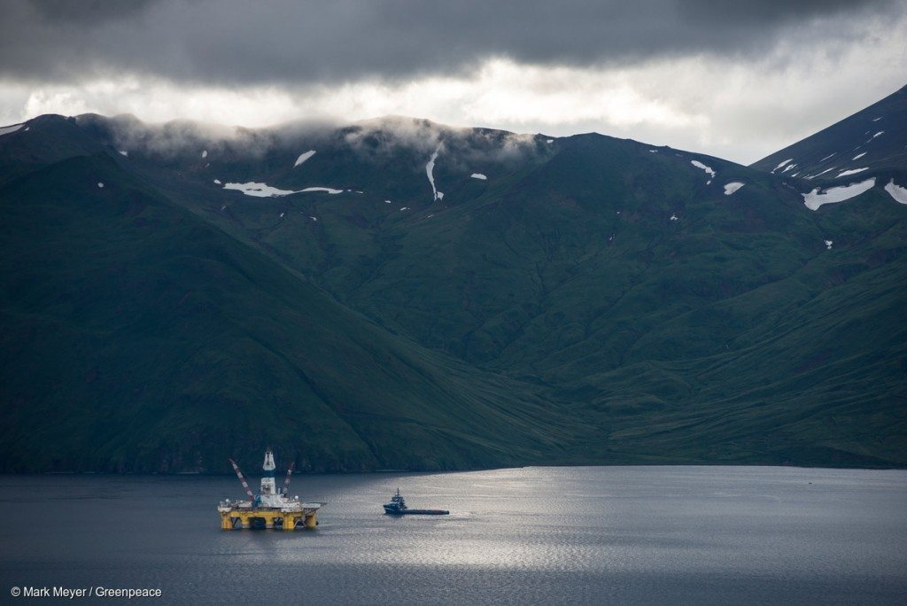 One of Shell's drill rigs, the Polar Pioneer sits in a bay in Unalaska's Dutch Harbor. Shell wants to begin drilling in the Alaskan Arctic, but it first has to transport its rigs through Unalaska, where residents are expressing their concerns.