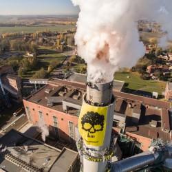 Coal Banner at Oldest Coal Power Station in GermanyKohlebanner am Schornstein KKW Deuben