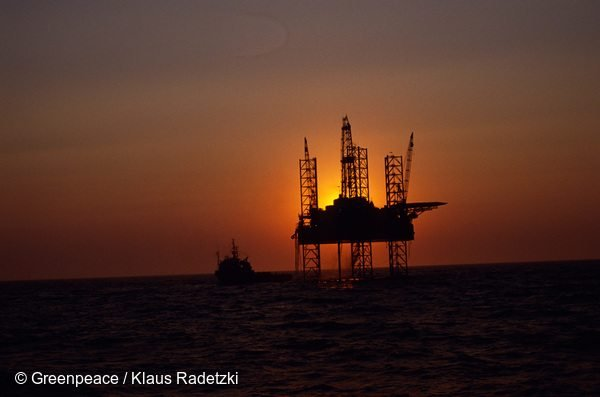 North Sea drilling platform Neddrill 7, chartered by NAM (50/50 Exxon/Shell) in the Frisian Front, North Sea.