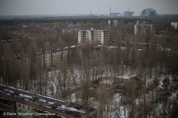 Aerial view of Pripyat. In the distance is the Chernobyl Nuclear Power Plant, about 2-3km away.