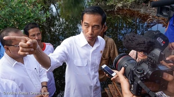 Indonesian President Joko Widodo speaks to the media during his visit to the Sungai Tohor community in November 2014. After his visit he made a vow to protect peatlands.