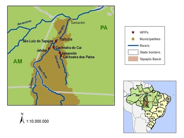 Map of the Tapajos Dam Project
