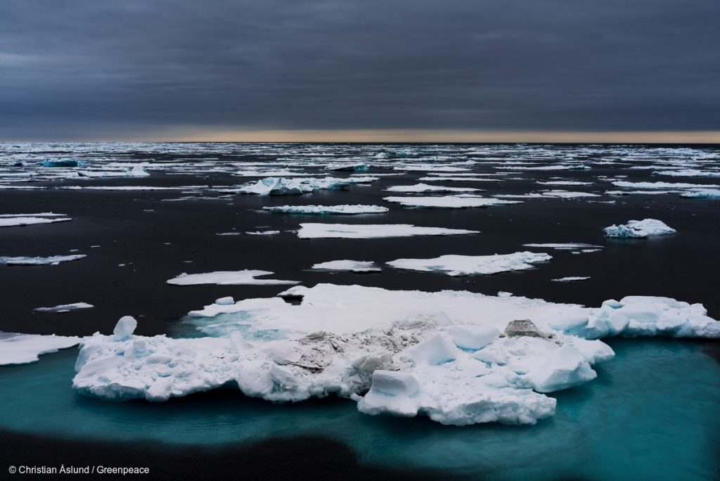 Floating ice in the Arctic Ocean. As the Arctic sea ice is about to reach its lowest extent of the year, Greenpeace is in the Arctic to demand that world leaders take action on climate change at the upcoming UN climate summit in New York.