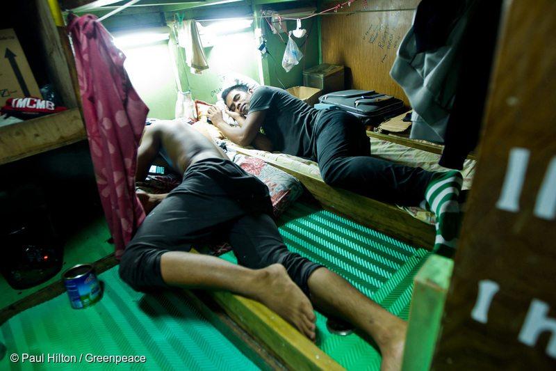 Fishermen sleep onboard a Taiwanese longliner in Samoa.