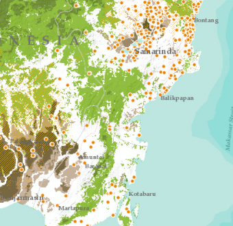 A New Interactive Map Is Helping Indonesian Communities Protect Their Land From Fires. Here, the yellow area represents Orangutan habitat and orange dots represent forest fires so far in 2016.