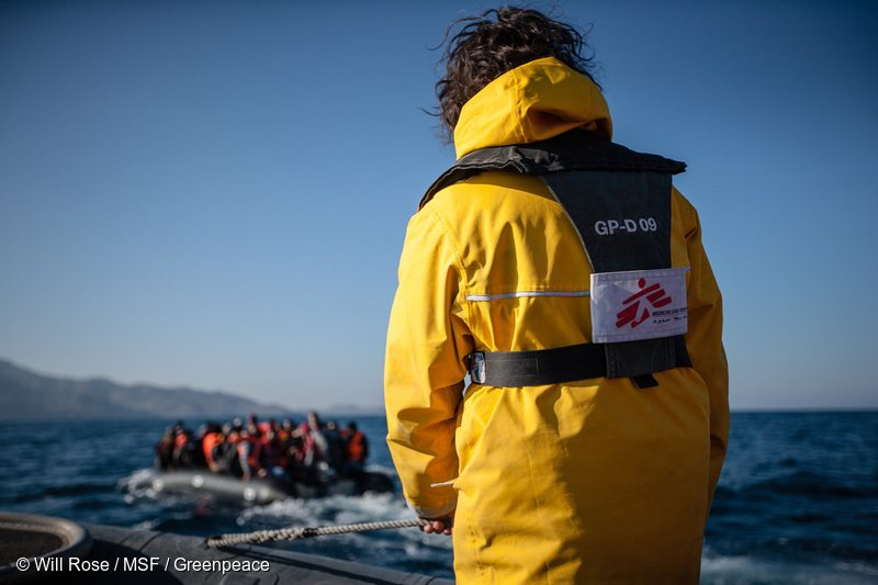 The Medecins Sans Frontiers (MSF) and Greenpeace crew are making sure that people who are risking their lives on the dangerous sea crossing between Turkey and Greece, arrive safely at shore. MSF and Greenpeace conduct joint sea operations to provide assistance at sea to boats in distress off the coast of Lesbos island in Greece, in coordination with and in support of the Greek Coast Guard.