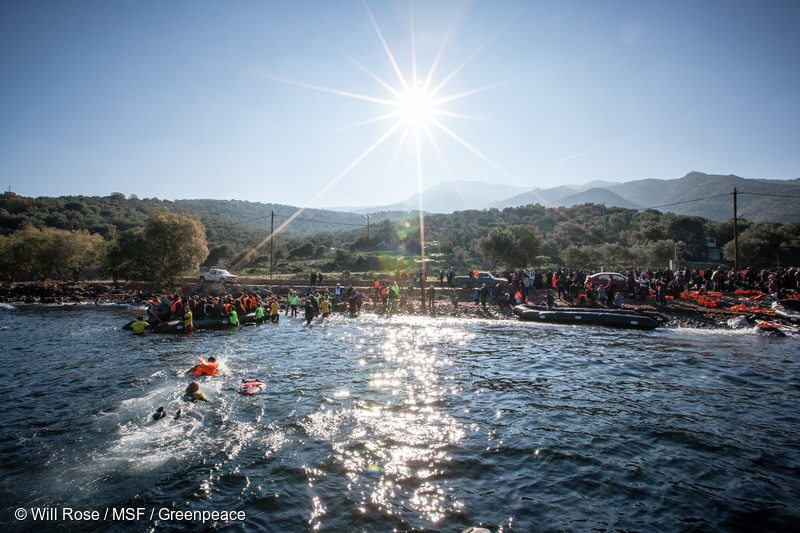 The Medecins Sans Frontiers (MSF) and Greenpeace crew are making sure that people who are risking their lives on the dangerous sea crossing between Turkey and Greece, arrive safely at shore.