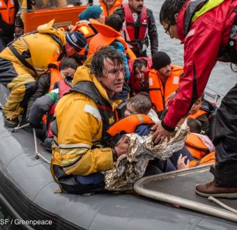 Medecins Sans Frontiers (MSF) and Greenpeace boat crews respond to an emergency as a wooden refugee boat capsized about a mile and a half off the coast of Lesbos. On arrival at the scene, all refugees were in the water and a major rescue operation involving Greenpeace, MSF, Frontex, Sea Watch and Proactiva ensued. A total of 83 people were rescued, while two people drowned - an 80-year-old man and nine-month old girl.