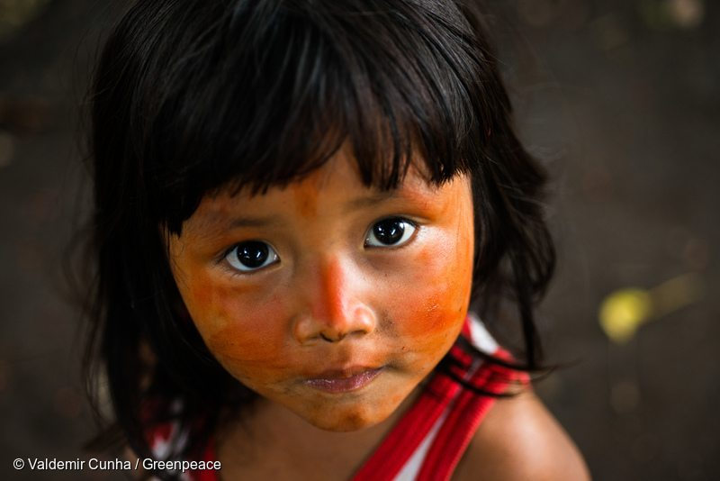 Munduruku child with achiote (Bixa orellana) painting in Sawré Muybu Indigenous Land, home to the Munduruku people, Pará state, Brazil.