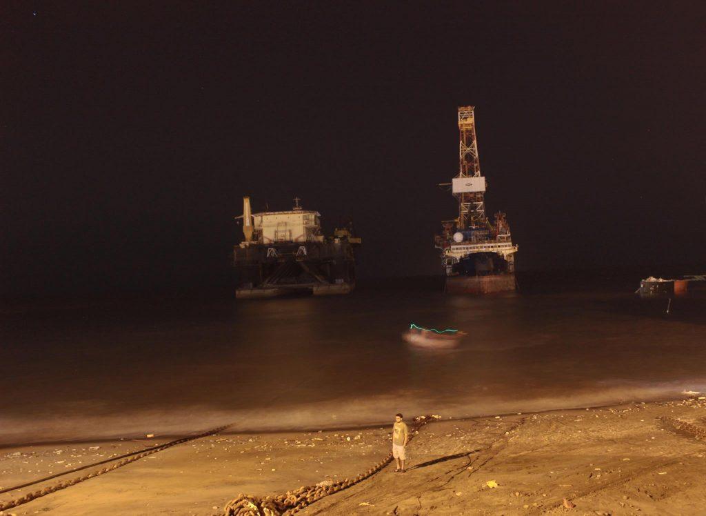 Noble Discoverer facing Alang beach, view at night.