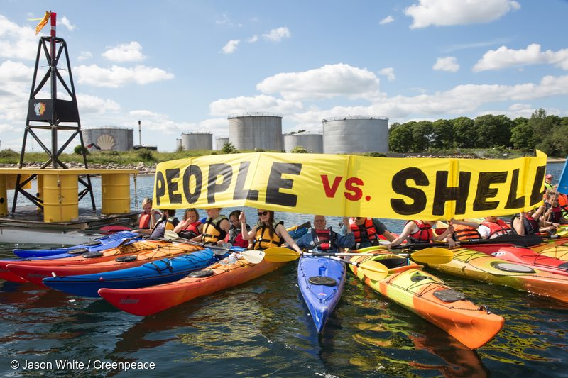 Protest against Shell at Fredericia in Denmark