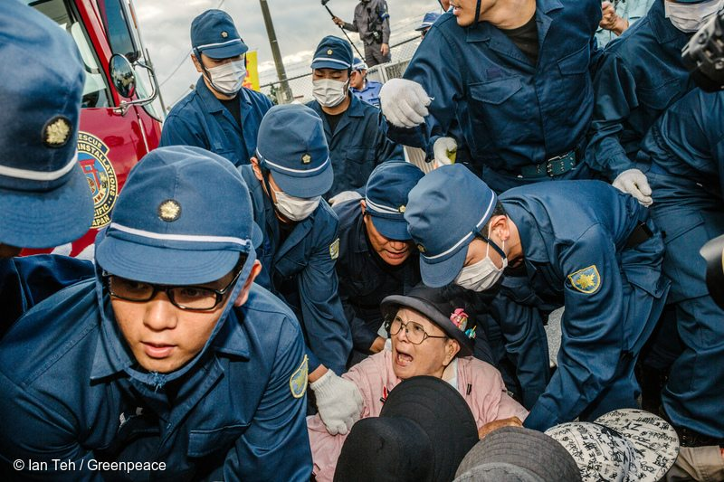 Protestors at the Military Base in Okinawa