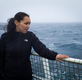 Resident of Clyde River, Clara Natanine on the Arctic Sunrise. Arctic Sunrise crew and guests prepare to leave St. John's, Newfoundland for Clyde River, Nunavut, where they will deliver solar panels for the community.