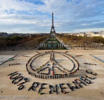 Eiffel Tower Human Aerial Art in Paris