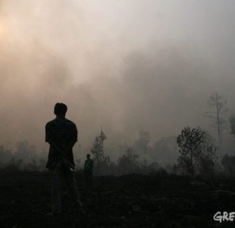 Residents near burning peat forest Riau