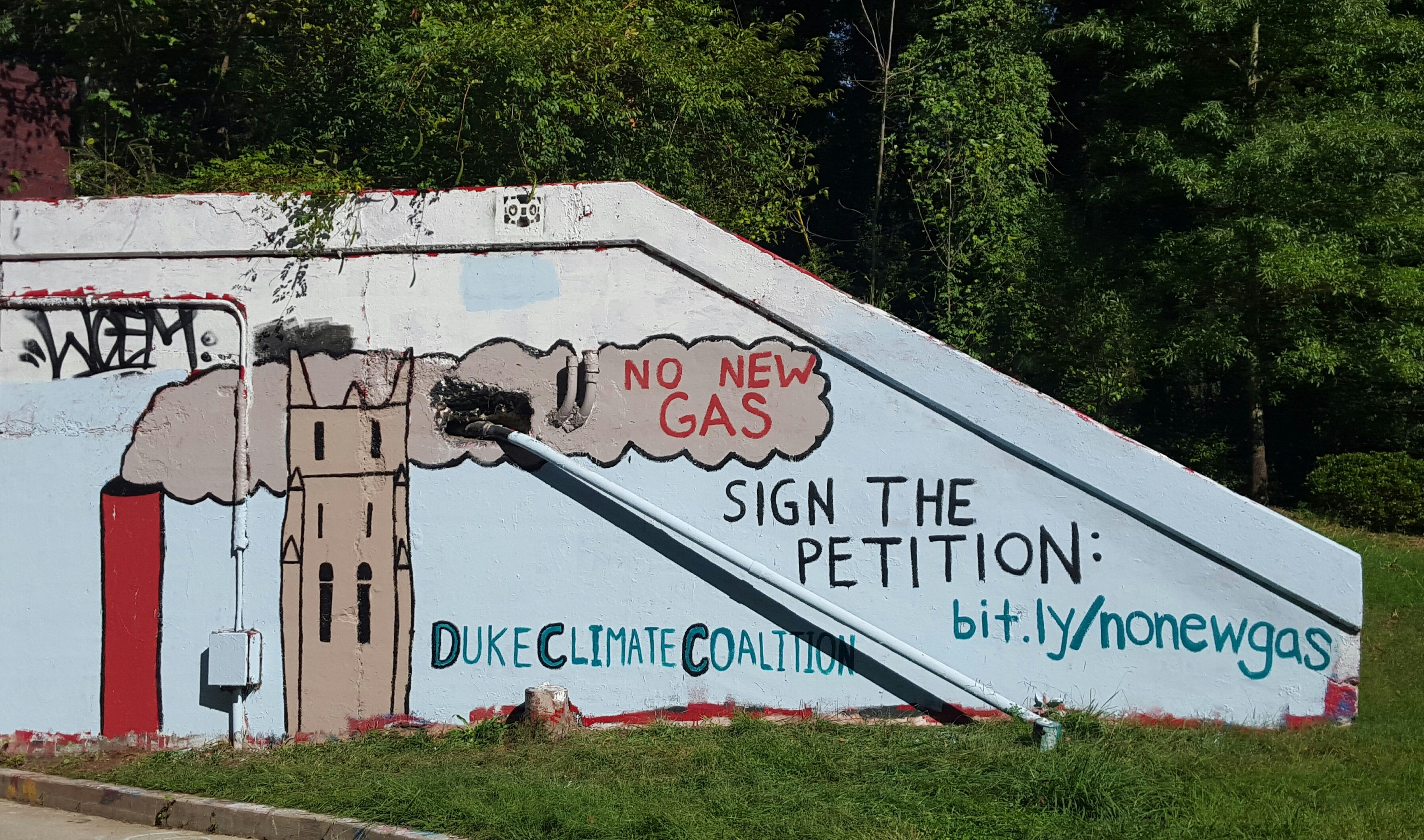 Duke Climate Coalition painted the tunnel on their campus to spread awareness for their campaign 'No New Gas'