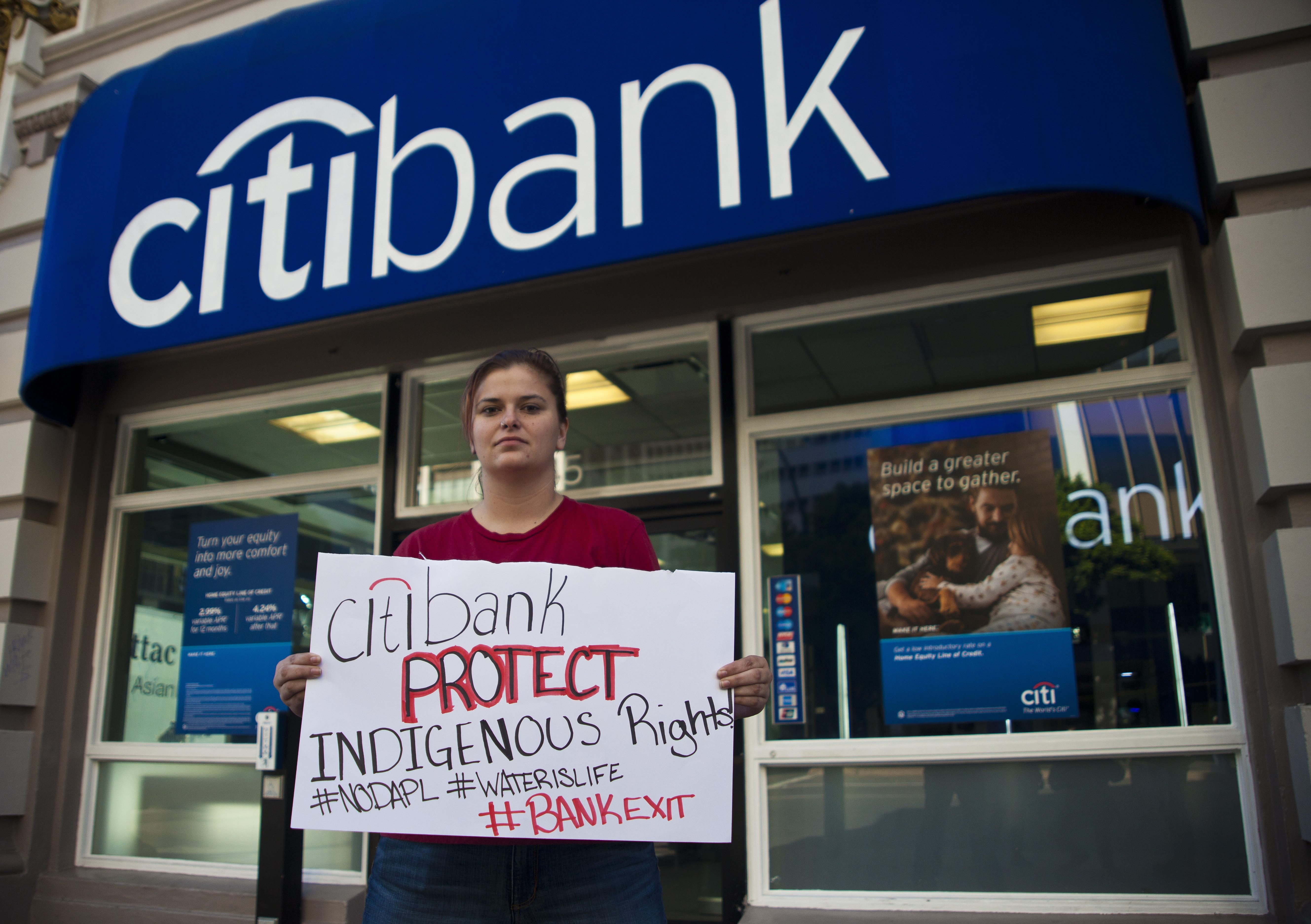 Supporters ask Citibank and it's customers not to fund the Dakota Access Pipeline. San Diego, CA.