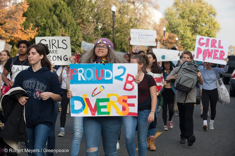 Students march down Capitol Hill in a Love Trumps Hate protest in reaction to the election of Donald Trump as president of the United States.