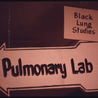 Sign to Laboratory Where Black Lung Studies Are Underway with Supervision by Dr. Donald Rasmussen, June 1974