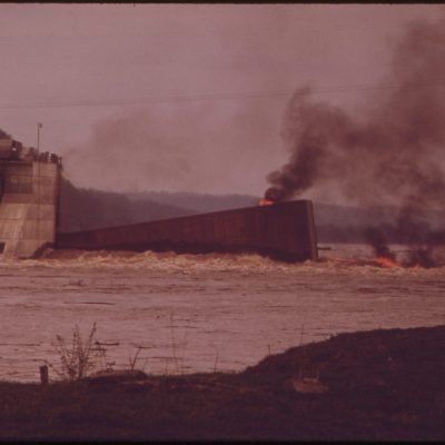 Barge on Fire on the Ohio River, May 1972