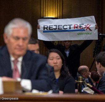 Action at Rex Tillerson Senate Confirmation Hearing in Washington D.C.