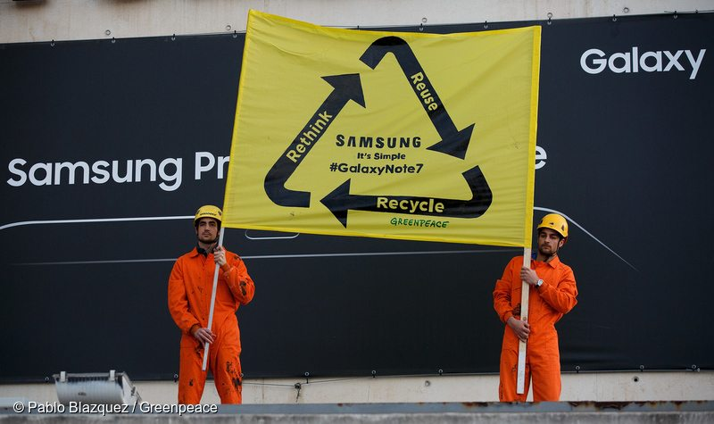 Protest at World Mobile Congress in Spain