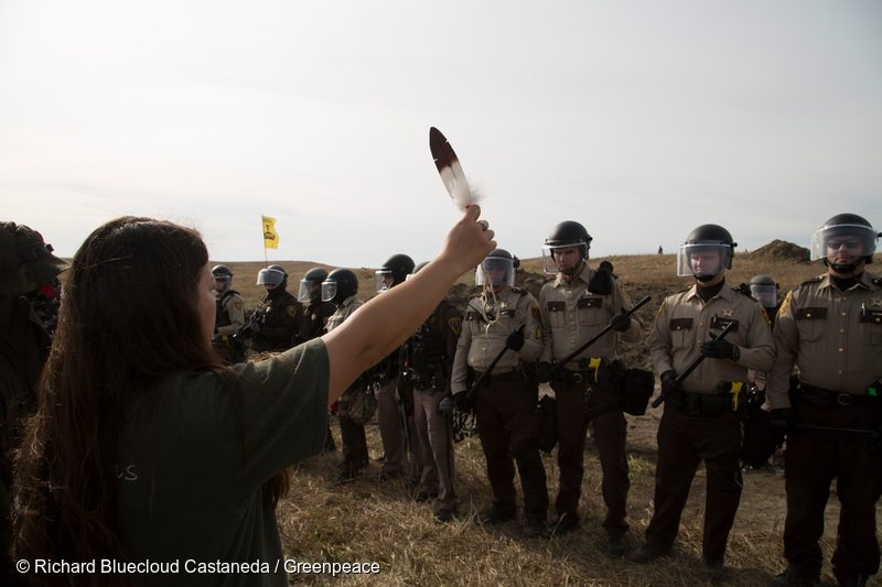 Protest at Standing Rock Dakota Access Pipeline in the US